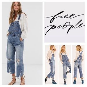 Free People Baggy Crop Boyfriend Overalls.  NWT.